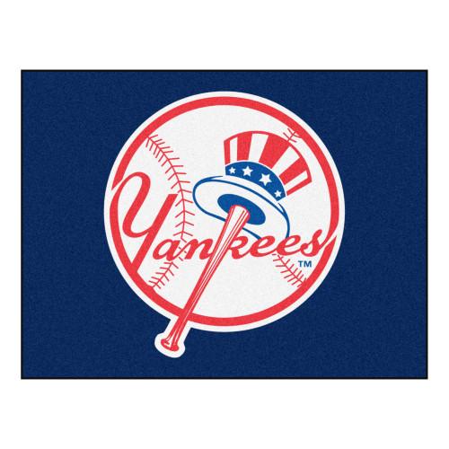 "33.75"" x 42.5"" Blue and White MLB New York Yankees All Star Non-Skid Mat Rectangular Area Rug - IMAGE 1"