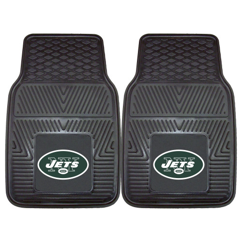 """Set of 2 Black and Green NFL New York Jets Car Mats 17"""" x 27"""" - IMAGE 1"""