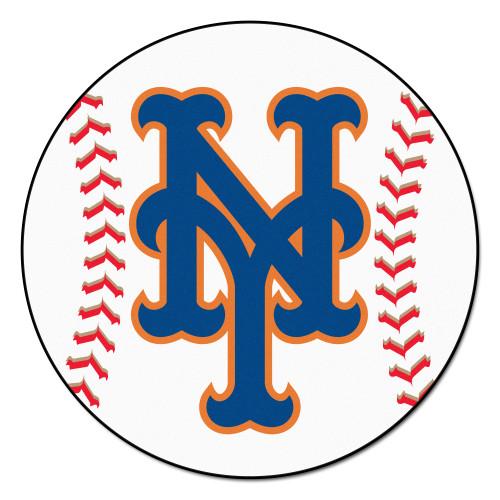 "White and Blue MLB New York Mets Round Baseball Welcome Door Mat 27"" - IMAGE 1"