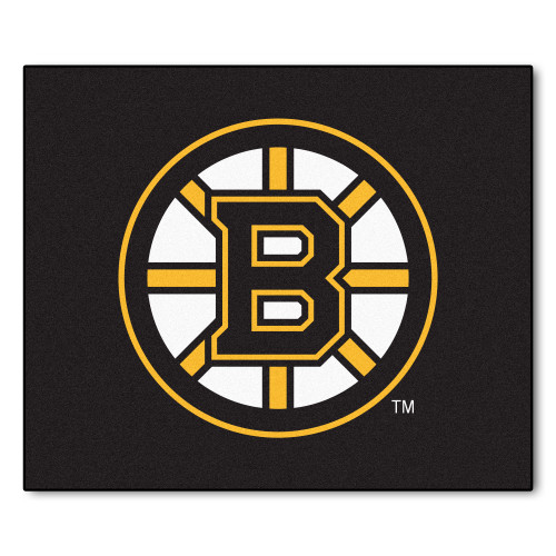"""59.5"""" x 71"""" Black and Yellow NHL Boston Bruins Tailgater Mat Rectangular Outdoor Area Rug - IMAGE 1"""
