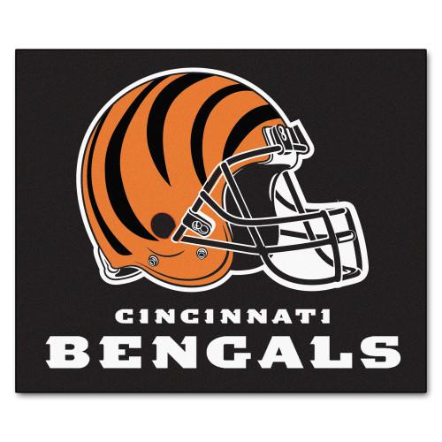 "59.5"" x 71"" Black and Orange NFL Cincinnati Bengals Tailgater Mat Rectangular Outdoor Area Rug - IMAGE 1"