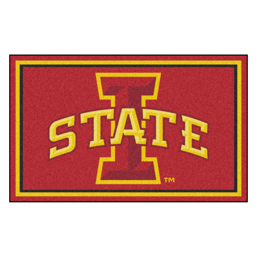 3.6' x 5.9' Red and Yellow NCAA Iowa State University Cyclones Plush Area Rug - IMAGE 1