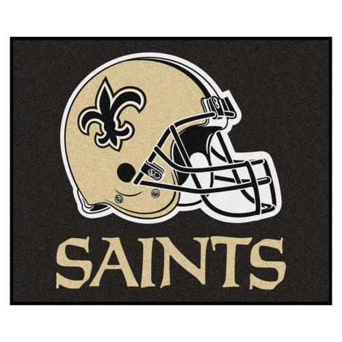 "59.5"" x 71"" Black and Beige NFL New Orleans Saints Rectangular Tailgater Mat - IMAGE 1"