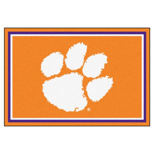 4.9' x 7.3' Orange and White NCAA Clemson University Tigers Rectangular Area Rug - IMAGE 1