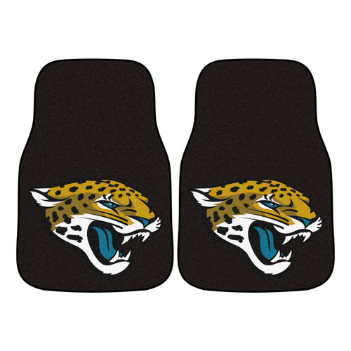 "Set of 2 Black and Yellow NFL Jacksonville Jaguars Front Carpet Car Mats 17"" x 27"" - IMAGE 1"
