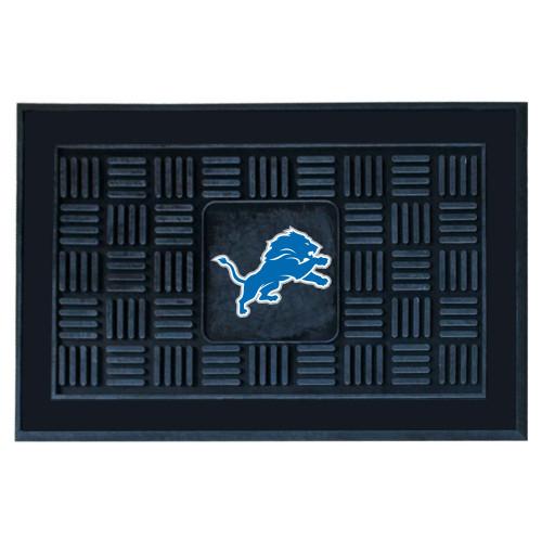 """19.5"""" x 31.25"""" Blue and Black NFL Detroit Lions 3-D Team Medallion Doormat - IMAGE 1"""