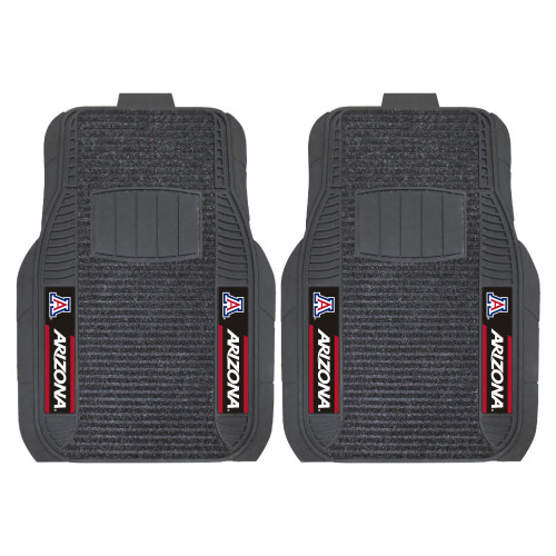 """Set of 2 Black and Red NCAA University of Arizona Wildcats Front Car Mats 21"""" x 27"""" - IMAGE 1"""