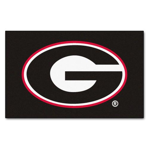 4.8' x 5.9' Black and Red NCAA University of Georgia Bulldogs Rectangular Area Rug - IMAGE 1
