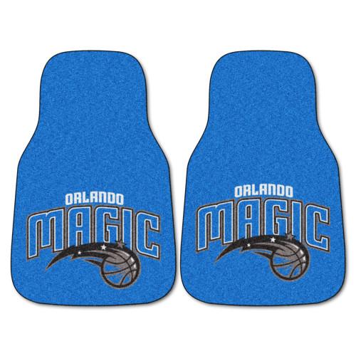 "Set of 2 Blue and Black NBA Orlando Magic Carpet Car Mats 17"" x 27"" - IMAGE 1"