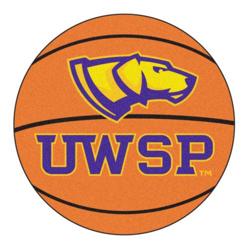 "27"" Orange and Yellow NCAA University of Wisconsin Stevens Point Basketball Round Door Mat - IMAGE 1"