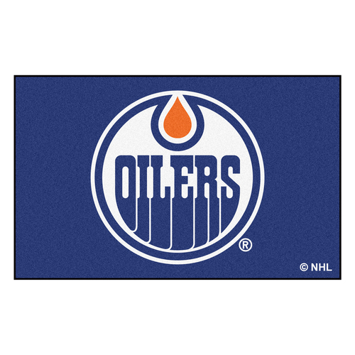 4.9' x 7.8' Blue and White NHL Edmonton Oilers Rectangular Mat Area Rug - IMAGE 1