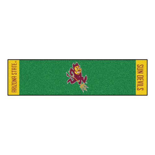 "18"" x 72"" Green and Yellow NCAA Arizona State University Sun Devils Putting Welcome Door Mat - IMAGE 1"