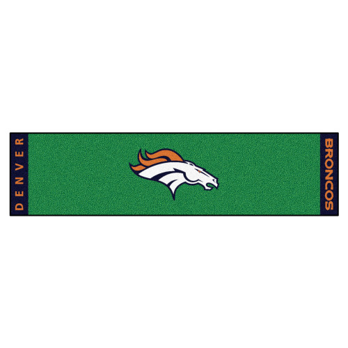 "18"" x 72"" Green and White NFL Denver Broncos Golf Putting Mat - IMAGE 1"