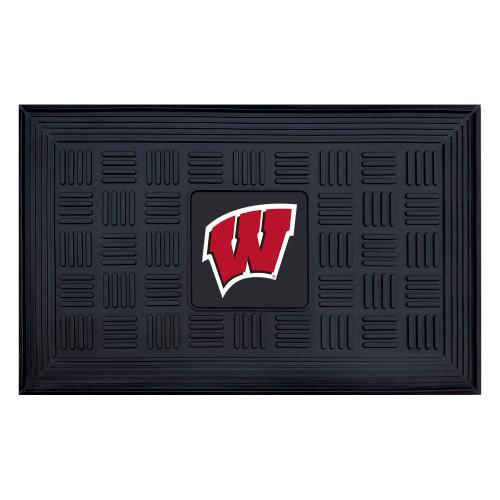 """19.5"""" x 31.25"""" Black and Red NCAA University of Wisconsin Badgers Outdoor Door Mat - IMAGE 1"""