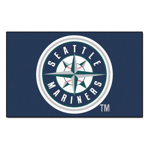 """59.5"""" x 94.5"""" Blue and White MLB Seattle Mariners Ulti-Mat Rectangular Outdoor Area Rug - IMAGE 1"""
