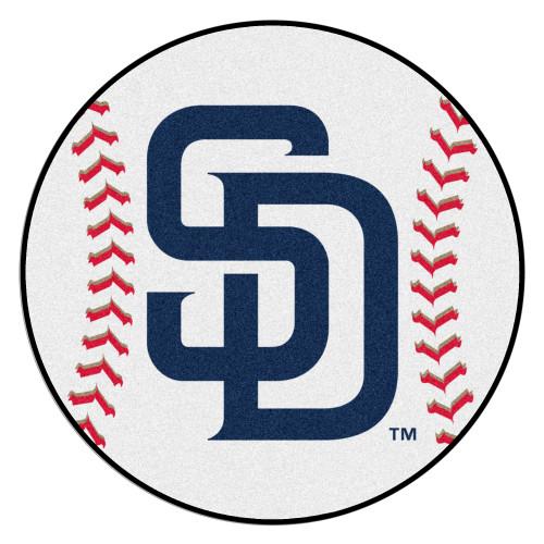 "27"" White and Blue MLB San Diego Padres Baseball Mat - IMAGE 1"