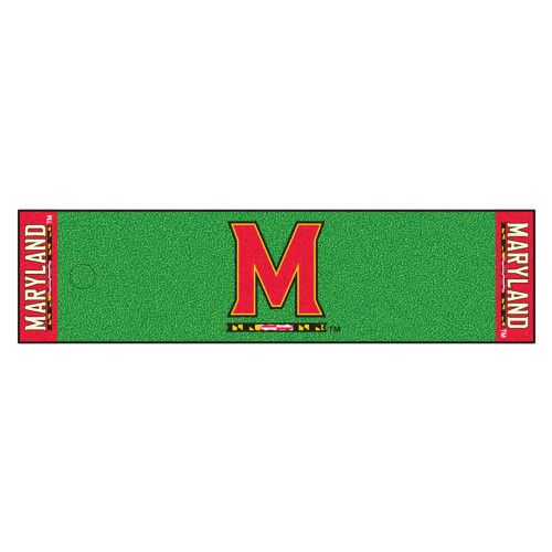 """18"""" x 72"""" Green and Red NCAA University of Maryland Terps Golf Putting Mat - IMAGE 1"""