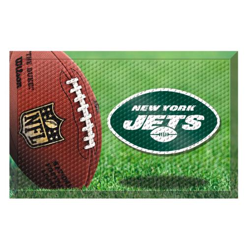"""19"""" x 30"""" Green and Brown NFL New York Jets Shoe Scraper Door Mat - IMAGE 1"""