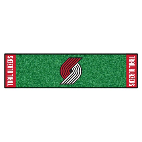 "18"" x 72"" Green and Red NBA Portland Trail Blazers Rectangular Golf Putting Mat - IMAGE 1"