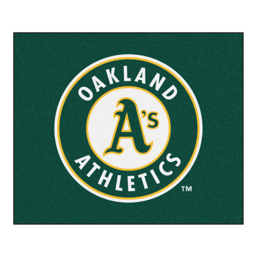 """59.5"""" x 71"""" Green and White MLB Oakland Athletics Rectangular Tailgater Mat Outdoor Area Rug - IMAGE 1"""