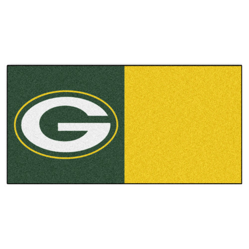 """20pc Green and Gold NFL Green Bay Packers Team Carpet Tile Set 18"""" x 18"""" - IMAGE 1"""
