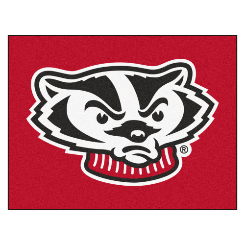 """33.75"""" x 42.5"""" Red and White NCAA University of Wisconsin Badgers All Star Door Mat - IMAGE 1"""