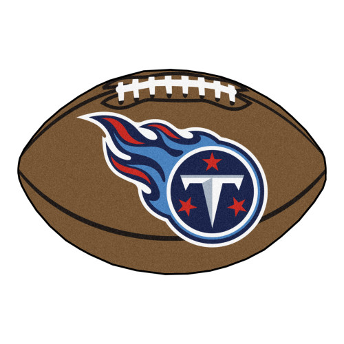 """20.5"""" x 32.5"""" Brown and Blue NFL Tennessee Titans Football Mat - IMAGE 1"""