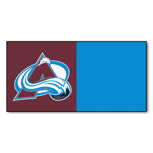 """20pc Brown and Blue NHL Colorado Avalanche Team Carpet Tile Flooring Squares 18"""" x 18"""" - IMAGE 1"""