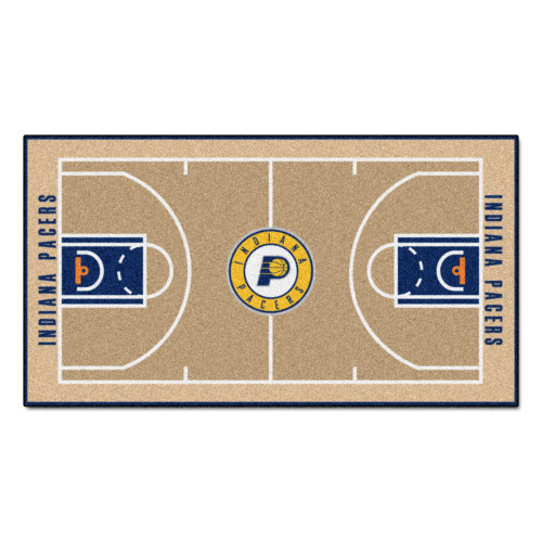 """24"""" x 44"""" Beige and Blue NBA Indiana Pacers Court Rug Runner - IMAGE 1"""