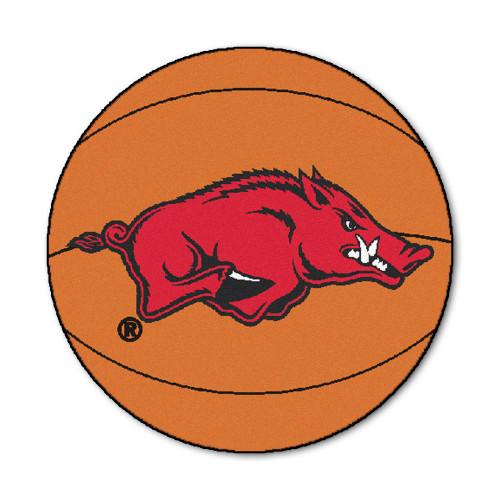 """27"""" Orange and Red NCAA University of Arkansas Razorbacks Basketball Shaped Mat Area Rug - IMAGE 1"""