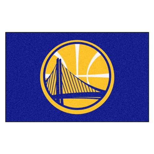 """59.5"""" x 94.5"""" Blue and Yellow NBA Golden State Warriors Mat Rectangular Area Rug - IMAGE 1"""
