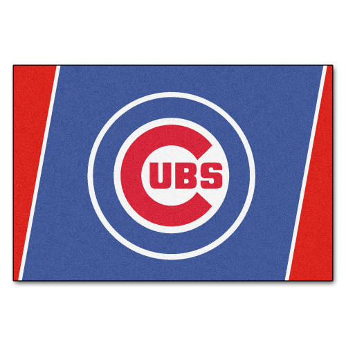 4.9' x 7.3' Blue and White MLB Chicago Cubs Plush Non-Skid Area Rug - IMAGE 1