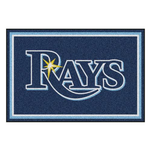4.9' x 7.3' Blue Rectangular MLB Tampa Bay Rays Plush Area Rug - IMAGE 1