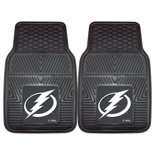 "Set of 2 Black and White NHL Tampa Bay Lightning Front Car Mats 17"" x 27"" - IMAGE 1"