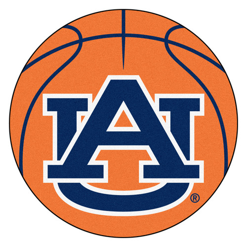 "27"" Orange and Blue NCAA Auburn University Tigers Basketball Mat Area Rug - IMAGE 1"
