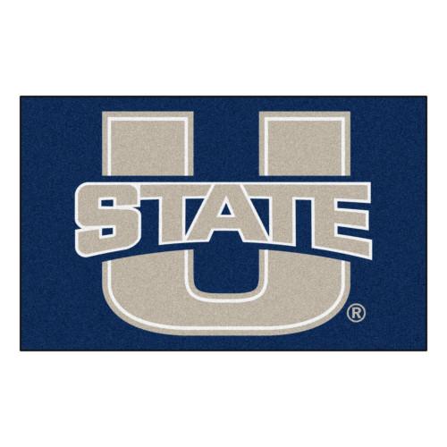 "59.5"" x 94.5"" Blue and Gray NCAA Utah State University Aggies Ulti-Mat Area Rug - IMAGE 1"