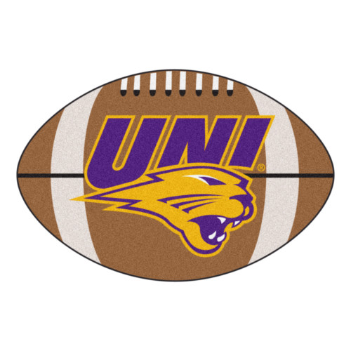 """20.5"""" x 32.5"""" Brown and Purple NCAA University of Northern Iowa Panthers Football Shaped Door Mat - IMAGE 1"""