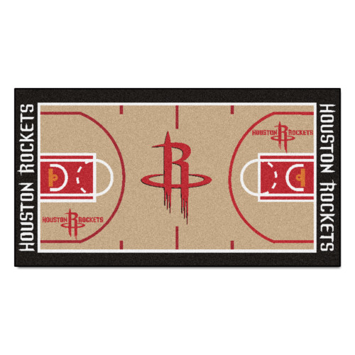 "24"" x 44"" Beige and Black NBA Houston Rockets NBA Court Non-Skid Mat Area Rug Runner - IMAGE 1"