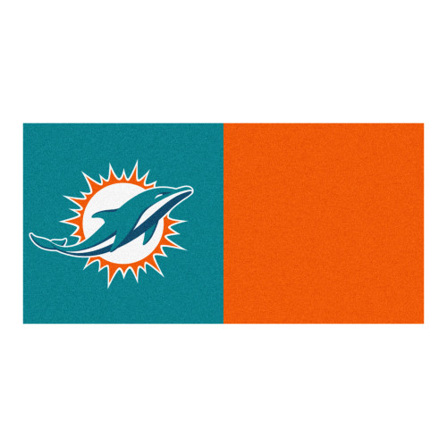 "20pc Aqua Blue and Orange NFL Miami Dolphins Team Carpet Tile Set 18"" x 18"" - IMAGE 1"