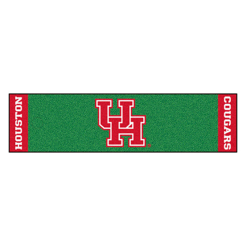 """18"""" x 72"""" Green and Red NCAA University of Houston Cougars Putting Welcome Door Mat - IMAGE 1"""