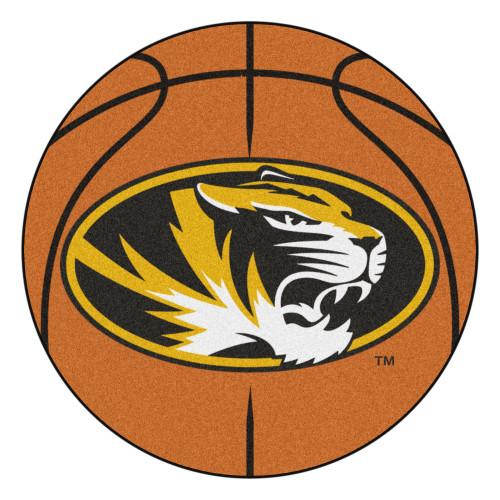 "27"" Brown and Yellow NCAA University of Missouri Tigers Basketball Mat Area Rug - IMAGE 1"