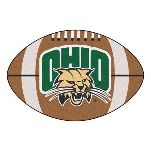 "20.5"" x 32.5"" Brown and Green NCAA Ohio University Bobcats Football Mat - IMAGE 1"
