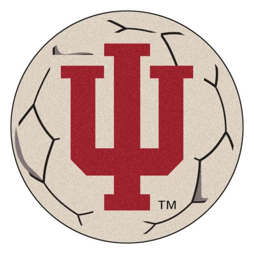 "27"" Gray and Red NCAA Indiana University Hoosiers Soccer Ball Round Door Mat - IMAGE 1"