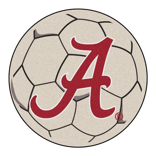 "27"" Gray and White NCAA University of Alabama Crimson Tide Soccer Ball Door Mat - IMAGE 1"