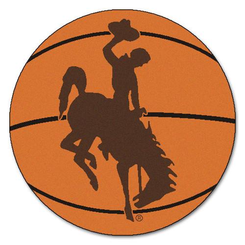 "27"" Orange and Brown NCAA University of Wyoming Cowboys Basketball Round Area Rug - IMAGE 1"