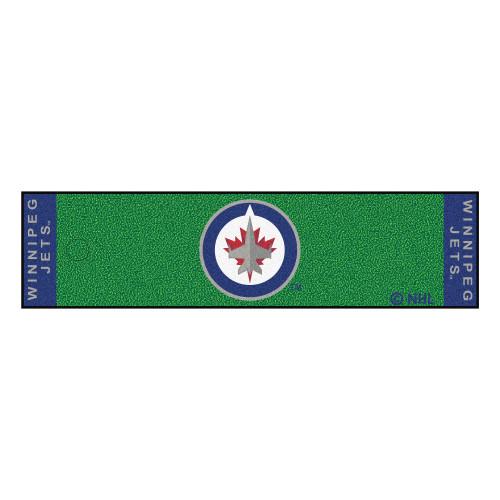 "18"" x 72"" Green and Black NHL Winnipeg Jets Putting Green Mat Golf Accessory - IMAGE 1"