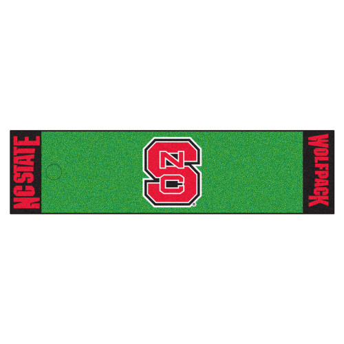 """18"""" x 72"""" Green and Red NCAA North Carolina State University Wolfpack Putting Welcome Door Mat - IMAGE 1"""