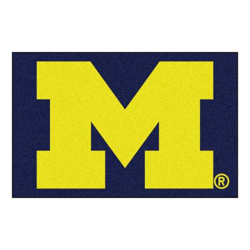 "19"" x 30"" Blue and Yellow NCAA University of Michigan Wolverines Starter Mat Rectangular Area Rug - IMAGE 1"