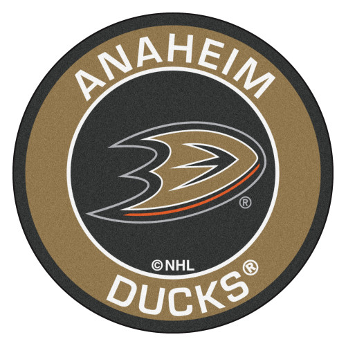 """27"""" Black and Brown NHL Anaheim Ducks Rounded Door Mat - IMAGE 1"""