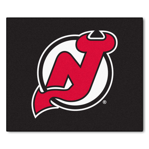 5' x 6' Red and White NHL New Jersey Devils Tailgater Mat Rectangular Outdoor Area Rug - IMAGE 1